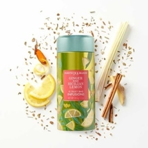 A beautifully fiery ginger and lemon infusion, the refreshing blend of this Ginger & Sicilian Lemon Infusions Tea evokes memories of homemade lemonade and ginger beer. Needless to say, it's a refreshing sunny day essential.  Contains 15 Silky Tea Bags