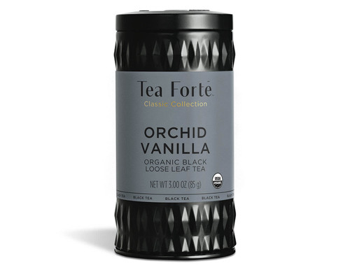 Loose leaf Orchid Vanilla black tea A blend of black tea with Madagascan vanilla with shavings of coconut Makes 35-50 cups of tea per tin