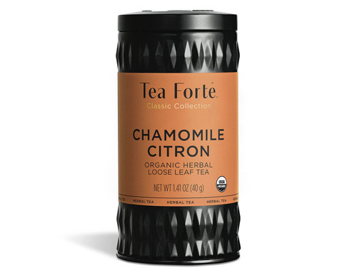 Loose leaf Chamomile Citron herbal tea A blend of Egyptian chamomile blossoms, rose hips, lemongrass and mint Makes 35-50 cups of tea per tin    Ingredients: Organic Chamomile Flowers, Organic hibiscus, Organic Rose Hips, Organic Peppermint Leaves, Organic Lemongrass, Organic Lemon Verbena, Organic Licorice Root and Natural Flavours