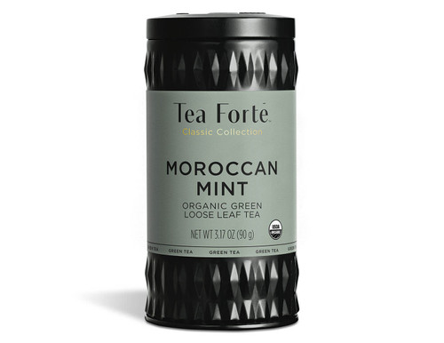 Loose leaf Moroccan Mint green tea A blend of Moroccan nana mint and hand rolled rare gunpowder green tea leaves Makes 35-50 cups of tea per tin Steep for 2-4 minutes in 80°C For loose leaf iced teas, use 2 teaspoons per 230ml glass  Ingredients  Green tea gunpowder and nana mint leaves