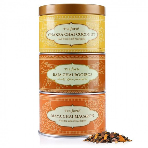 A new way to sample Tea Forte chai teas! Whole leaf teas from the world's finest tea estates. 3 mini canisters, one each of Chakra Chai Coconut, Raja Chai Rooibos and Maya Chai Macaron