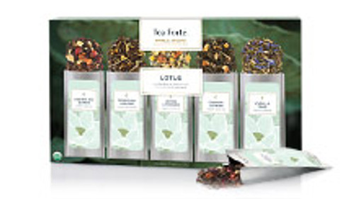 Lotus single steeps   15-28 servings with three each of Darjeeling Quince, Mountain Oolong, Orange Jasmine, Vanilla Pear, Lemon Lavender