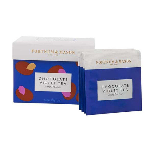 A gently floral, chocolatey and oh-so-Fortnum's tea inspired by our handmade Chocolate Violet Creams. Decorated with beautiful blue cornflower petals, this iconic creation blends together cocoa shells and black tea to create a most relaxing and delightful chocolate treat without the deliberation.  Every silky tea bag is specially packed in an envelope to be enjoyed anywhere at anytime.