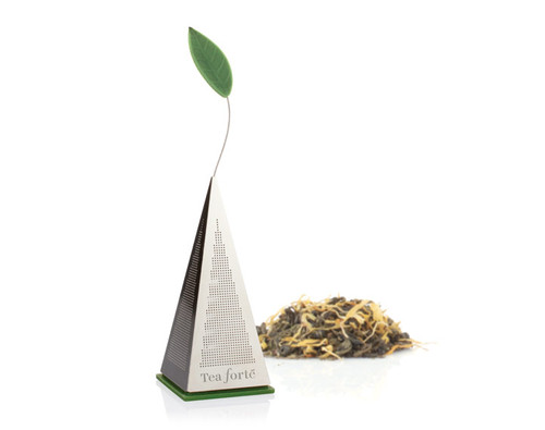 Pyramid-shaped loose tea infuser. Simply remove the silicon base, fill the stainless steel pyramid with loose tea and replace the base. Steep and enjoy a most elegant cup.