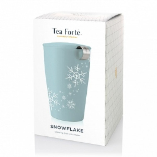 Loose tea by the cup…..simple. Gloss-glazed ceramic KATI with embossed snowflakes for the winter season. The double-wall ceramic tumbler and IMPROVED integrated stainless steel infuser make brewing loose tea by the cup simple. The innovative double-wall construction keeps tea hot and the tumbler cozy to hold. Steeps a generous 12 oz cup. Dishwasher and microwave safe.