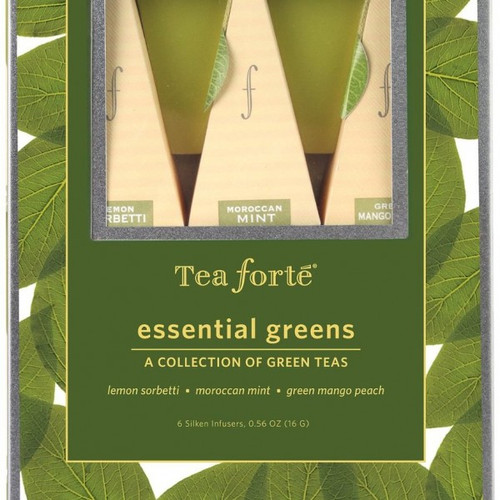 A wonderful gift idea for any tea lover. Garden to cup… From the world's most beautiful gardens comes these artisan crafted varietals of health enhancing teas. Fresh, sustainably harvested leaves, herbs and spices are rich with the distinctive taste and intrepid individuality of the tea's famed origins. 6 pyramid infusers with two pyramids infuser each: Lemon Sorbetti (organic), Moroccan Mint, Green Mango Peach (organic)