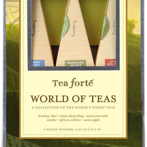 A wonderful gift idea for any tea lover. Garden to cup… From the world's most beautiful gardens comes these artisan crafted varietals of health enhancing teas. Fresh, sustainably harvested leaves, herbs and spices are rich with the distinctive taste and intrepid individuality of the tea's famed origins. Includes one of each blend: Bombay Chai, Moroccan Mint, African Solstice, Sencha (organic), Estate Darjeeling, Swiss Apple.