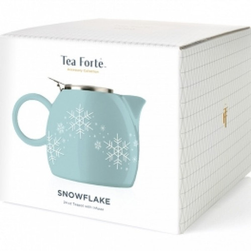 Festive, gloss-glazed ceramic teaware with embossed snowflake designed for the season. PUGG's cheerful attitude and foolproof brewing system will become a lifetime companion to any tea lover. Steeps a generous amount of piping hot tea for two (24oz), using either loose leaf tea or our silken pyramid tea infusers. Includes an integrated & improved stainless steel infuser basket. Not intended for stove-top use.