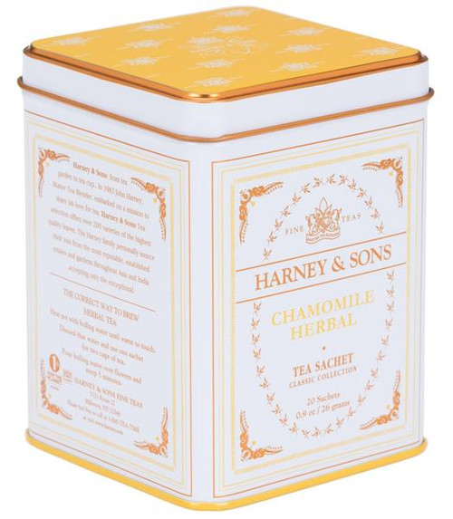A premium herbal tea with definite body. Classic tin of 20 sachets. Each tea sachet brews a 12 oz cup.  Ingredients: Egyptian Chamomile All Natural.