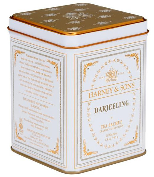 "Darjeeling, the ""Queen of Teas. Blend of First Flush and Autumnal teas from the best gardens in the Himalyas. This mixture yields a light color in the cup. Classic tin of 20 sachets. Each tea sachet brews a 12 oz cup of tea.  Ingredients: Black teas. All Natural."
