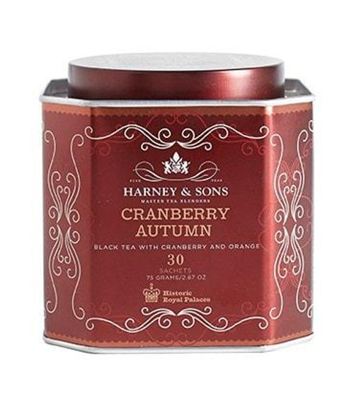 Cranberry Autumn is a black tea artfully blended with cranberry and orange flavors. You'll find it a full bodied brew that is exceptionally smooth and delicious in fall, or anytime if you're a cranberry fan. Tin of 30 sachets.   Ingredients:  Black tea, hibiscus, cranberry, orange pieces, cranberry flavor, orange flavour.