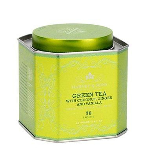 Green Tea with Coconut and Ginger is an exotic combination of green teas, coconut, ginger, vanilla and lemongrass, creating a delicious and distinctive tea blend that is both smooth and spicy.  Tin of 30 tea sachets