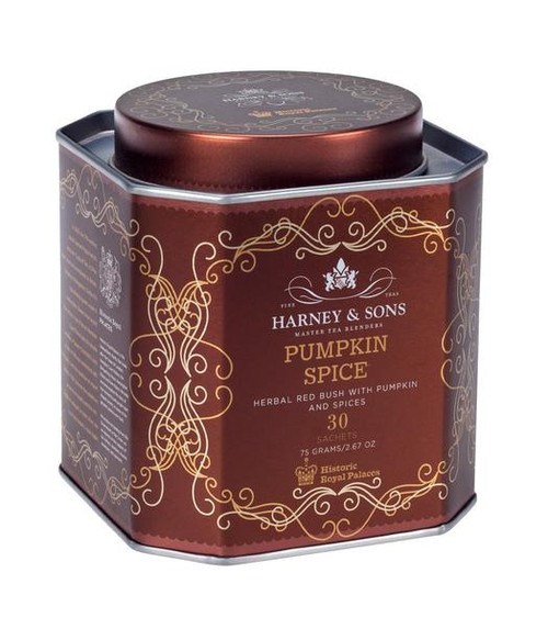 Pumpkin Spice is a herbal celebration of autumn harvest time – a masterful blend of pumpkin and warming spices. The base is rooibos, also known as red bush, which brews bright red and is light-bodied.