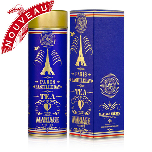 Paris is celebrating and the fireworks light up the city, reflecting on the Seine in spectacular fashion.   MARIAGE FRÈRES has recreated this festive spirit with the bright citrus notes of sparkling yuzu accentuated with ginger.   Sprinkled with blue, white and red flowers, this tea's indigo-colored infusion makes us jump with excitement.