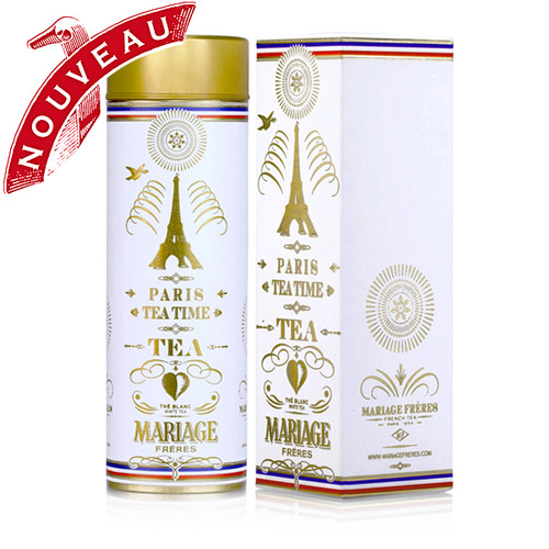 A white tea composed of fine, downy buds is enhanced with the irresistibly seductive accents of fruits and citrus, decorated with flower petals colored blue, white, and red – a signature of the collection evoking romantic and gourmand Paris.   The purity of the infusion alludes to its canister dressed in white and gold where Paris shines with light, its fountains bursting, in a whirlwind of joyous and pure emotion.