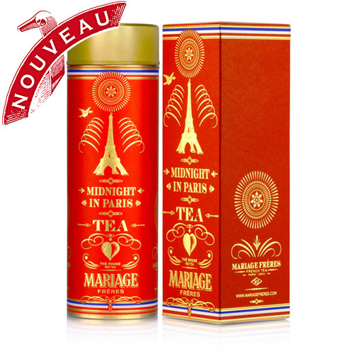 Paris is a feast of flavors and this seductive red tea is a perfect adaptation. As a nod to French gourmandise, the red and gold canister is adorned with a fine tricolor trim.   In the cup, notes of vanilla mingle with deliciously tangy, fruity accents while hibiscus flowers lend the liquor a captivating fragrance as well as a passionate red hue.   A tea as thrilling as a fabulous Parisian soirée.