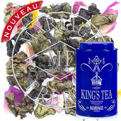For the King, a secret composition of Blue Tea™ from Thailand is scented with delicate spices and bergamot then enlivened with yellow and pink rose petals.   Perfect for Father's Day, to celebrate a birthday, or as a token to one's sweetheart or best friend – behold a new royal present.