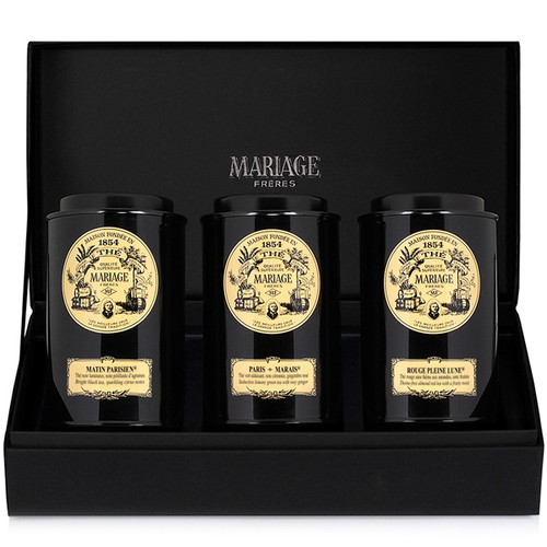 The City of Paris and Mariage Frères have come together to create three prestigious gourmet teas, infused with charm and poetry, for the morning, afternoon and evening.  Mariage Frères has created a new black gift case containing three black lacquered canisters.  They hold three blended teas that one can prepare at any moment of the day.   - MATIN PARISIEN : black tea for the morning  - PARIS MARAIS : a distinguished green tea for the afternoon  - ROUGE PLEINE LUNE : naturally theine-free red tea for the evening   Each black lacquered canister holds 100 g of tea.