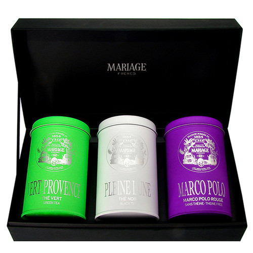 "Three canisters of 100 grams of tea in a black presentation case: three ways to discover Mariage Frères' famous ""Masterpieces"" :   - VERT PROVENCE - green tea : a flowery, grassy green tea married with red and black fruit with overtones of wild lavender  - PLEINE LUNE - black tea : Inspired by that heavenly body and the realm of dreams, this poetic blend combines fragrances evoking the feast of the full moon: fruits, rare spices, and the sweet taste of honey  - MARCO POLO ROUGE - red tea : The combination of fruit and flowers from China and Tibet gives in an instantly recognizable aroma, based on a rooibos tea with the flavour of red berries and vanilla"
