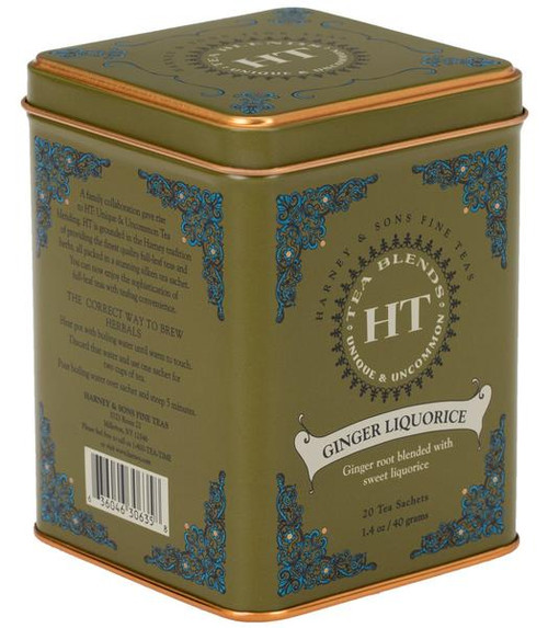 Ginger Liquorice is a delightfully simple herbal blend, both spicy and slightly sweet. Enjoy this caffeine-free brew that soothes with the sweet flavor of liquorice, balanced by ginger's spiciness. Tin of 20 sachets. Each sachet brews a 12 oz cup of tea.