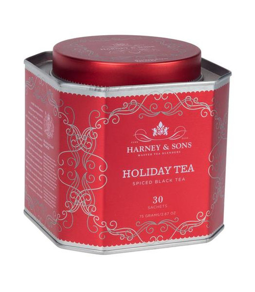 Holiday Tea – spiced with citrus, almond, clove and cinnamon – has become a year-round favorite black tea. Delicious hot or iced, it's a wonderful addition to a holiday table, served piping hot on a cold winter morning, or anytime you crave a holiday-inspired brew. Festive red tin with 30 tea sachets. Each sachet brews a 12 oz cup. Caffeinated.