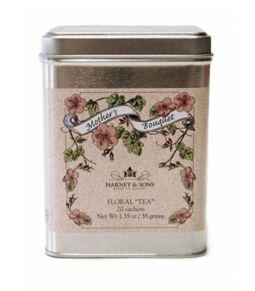 Mother's Bouquet is a beautiful and refreshing caffeine-free herbal blend created in honor of all mothers. It features chamomile flowers blended with rosebuds, cornflowers, and orange peel, infused with citrus flavor. Tea sachets in decorative Mother's Bouquet tins make a thoughtful gift for Mom, or the perfect choice if you are hosting a Mother's Day tea or luncheon. Decorative tin of 20 tea sachets.