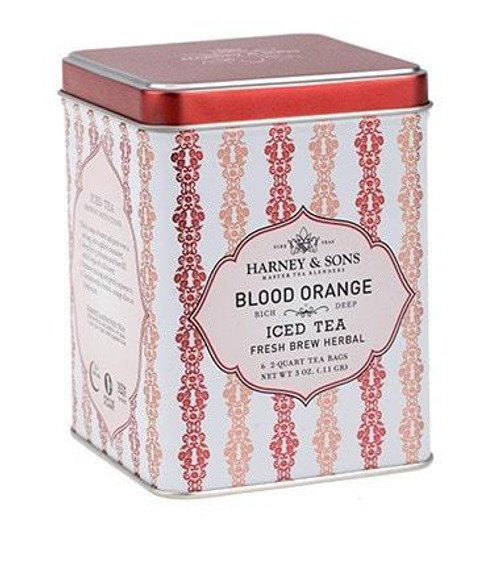Blood Orange, our newest featured iced tea, is a delicious mixture of fruit pieces that brews a brilliant red with a bold fruity taste. You'll find it delightfully tangy and sweet. It's a beautiful herbal that is delicious on ice. Tin with 6 easy to brew iced tea pouches. Each pouch makes two quarts.