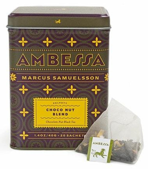 You can taste the velvety undertones of dark chocolate, caramel, and peanuts in this rich, aromatic black tea blend containing marigold petals, apricot, natural flavors. Does not contain nuts. Tea sachets, tin of 20.