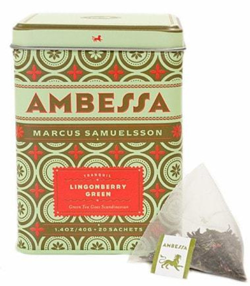 Years of Japanese and Scandinavian tradition come together in this elegant green tea blend. Notes of tart Nordic lingonberries strike a delicate balance with refreshing Japanese green tea, with red cornflowers, natural and artificial flavors. Tea sachets, tin of 20.
