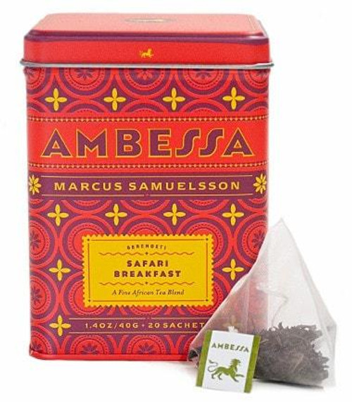 Brimming with flavor, Ambessa Safari Breakfast is a robust blend of African black teas with a reassuringly rich aroma. A full-bodied breakfast tea, it's the embodiment of Africa's fine lineage of outstanding teas, spices and vibrancy. Tea sachets, tin of 20.