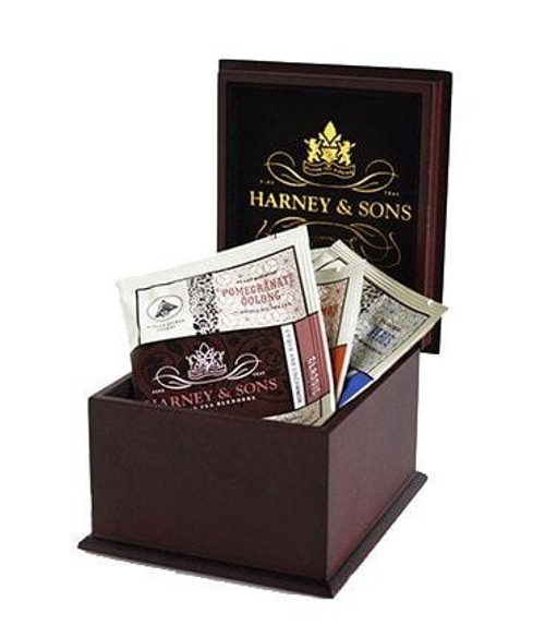 This  elegant wood tea chest, with the Harney & Sons Logo, comes filled with a variety of 12 the Wrapped Tea Sachets. Enjoy it as a teatime presentation piece, or it makes a delightful gift, especially for the traveler.