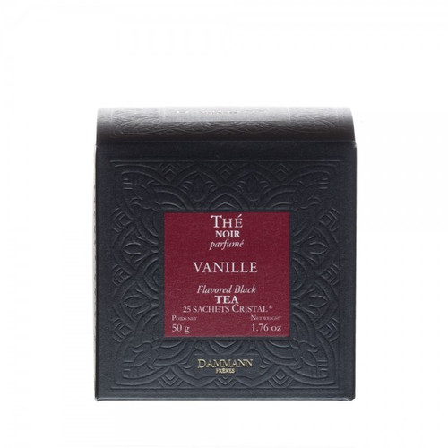 Blend of black teas with delicious vanilla flavor. Its unctuous and slightly sweet cup is a real treat with a dash of milk. Box of 25 Cristal® teabags Net weight: 50 g / 1,76 oz Dominant note: Gourmet notes Type(s) of tea: Black Tea Main flavour: Vanilla