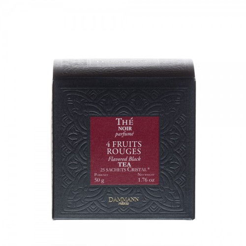 A blend of black teas with the delicious scents of red fruits, combining the aromas of cherry, strawberry, raspberry and red currant for an irresistibly fruity tea. Box of 25 Cristal® teabags Net weight: 50 g / 1,76 oz  Dominant note: Red fruits Type(s) of tea: Black Tea Main flavour: Cherry Complementary flavour(s): Raspberry, Strawberry, Redcurrant