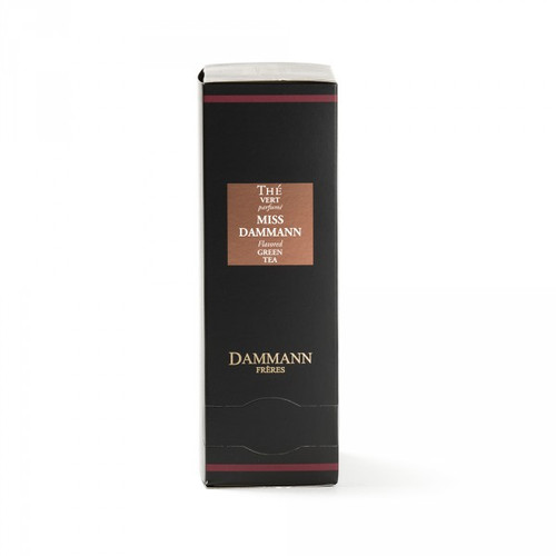Spirited and spicy like a Parisian mademoiselle, Miss Dammann combines green tea and ginger with the fruity, tangy scents of lemon and passion fruit. A fresh and lively blend.     Box of 24 enveloped Cristal® teabags. Net weight: 48 g / 1,69 oz  Dominant note: Exotic fruits Note(s) secondaire(s) : Citrus fruits Type(s) of tea: Green tea Main flavour: Ginger Complementary flavour(s): Passion fruit, Lemon