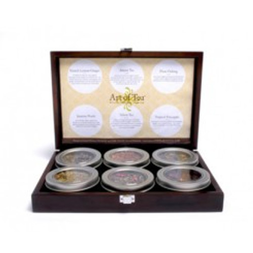 This elegant gift set includes a beautiful wooden box with 6 different teas in reusable tea tins with windows to showcase the beauty of our hand-crafted teas. Each tin contains approximately 1-2 oz, or 20 servings.