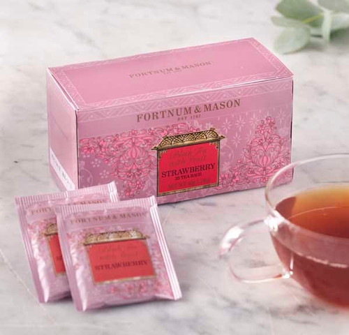 The delicious taste of this classic summer fruit fused with black China tea makes an unusually refreshing drink. Sip its sweet, summery notes to bring the taste of sunshine to the everyday. Serve Fortnum's Black Tea with Strawberry without milk to achieve the best flavor.