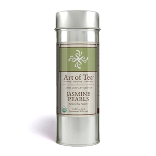 Dating back over 1000 years, the traditional tea scenting techniques are still used to make this special tea. Aromatic organic jasmine blossoms are used for scenting the most tender organic green tea leaves and buds then hand rolled into small pearls. This salubrious tea is exquisite in flavor and aroma and yields a clear, light green hue with a delicate finish. 3 oz per tin (Approx. 43 servings)   Water Temperature: 180-185 F degrees Caffeine Content: Medium Suggested Serving Size: 1 tsp/8oz Steep Time: 3-5 minutes Ingredients: Organic Green Loose Leaf Tea, Organic Jasmine Flowers Origin: Fujian, China