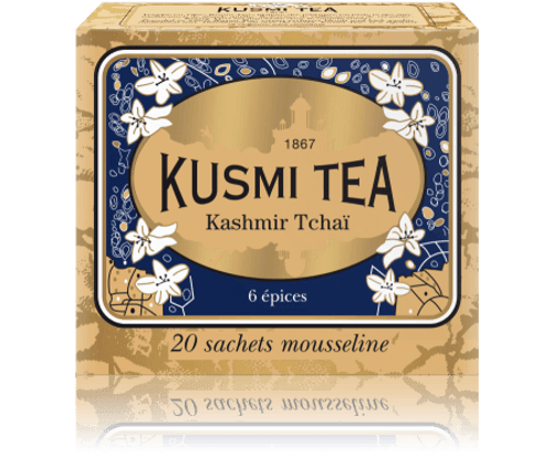 BLEND OF BLACK TEA WITH SPICES One of Kusmi's oldest blends, its origin most likely dates back to the times of tea caravans that traveled from Asia all the way to Russia by land. Kashmir Tchai is a tea that is traditionally served in India and Nepal with milk and sugar. Its spices make it the ideal choice to accompany a light lunch.  Infusion time 3-4 min  Infusion temperature 85-90°C  Perfect for iced tea  INGREDIENTS  Black tea  Spices (green aniseed  Cardamom Cinnamon  Ginger  Clove  Bay) (34%) Flavourings