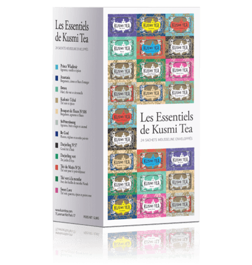 BOX OF 24 MUSLIN TEA BAGS, AN ASSORTMENT OF KUSMI'S BEST SELLERS The Essentials brings together 12 of Kusmi's most popular creations. Perfect to try for yourself or to give as a gift. 24 enveloped muslin tea bags of Kusmi's best creations: Prince Vladimir, Anastasia, Kashmir Tchai, St Petersburg, Imperial Label for those who love Russian flavours. BB Detox, Detox and Be Cool, three of the most popular from our Wellness Teas. Organic Darjeeling N°37 and English Breakfast for discovering the classic blends. Lastly, Spearmint green tea and Jasmine green tea will delight those who love flavoured green teas.