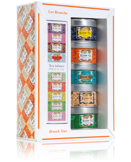 The Brunch blends assortment of mini tins is the perfect accompaniment to any sweet or savoury meal. With tea infuser. An assortment of three exclusive Russian blends. Anastasia, a blend of Earl Grey, lemon and orange blossom, Kashmir Tchai, a blend of black teas with spices based on the traditional Nepalese recipe and Imperial Label, a subtle blend of green tea, cinnamon and liquorice. Those who love full bodied teas will delight in English Breakfast, with its blend of black teas from Ceylon and Assam. You will love the refreshment of Spearmint green tea after a meal.