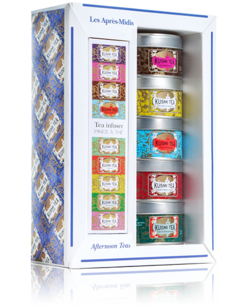 """The Afternoon Teas Assortment of mini tins is ideal for discovering Kusmi's """"must-have"""" teas and blends, or to give them as a gift. Spicy Chocolate and Four Red Fruits will delight those who like to indulge, Almond green tea, those who love sweet flavours, and Prince Vladimir and Green St. Petersburg will open the door to our famous Russian flavour rooted in citrus fruits."""