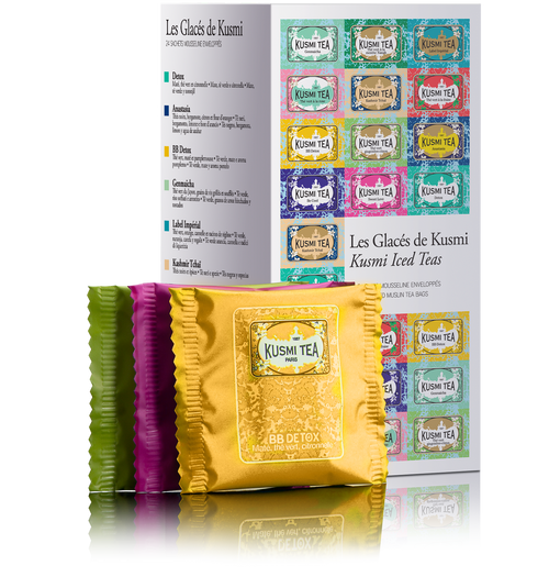 BOX OF 24 INDIVIDUALLY ENVELOPPED TEA BAGS, OUR BEST FOR ICED TEAS The Iced Teas is a collection of the best of Kusmi's teas to serve iced. This assortment of 24 individually envelopped muslin tea bags brings together 3 exclusive blends: Anastasia, with notes of bergamot, lemon and orange blossom, spicy Kashmir Tchai, and Imperial Label with its orange and cinnamon flavours. It also contains the best flavoured green teas for brewing iced tea: Strawberry green tea, Ginger-lemon green tea, Spearmint green tea and Rose green tea. Also try the unbeatable Wellness blends iced: Detox, Sweet Love, Be Cool and BB Detox. Lastly, discover Genmaicha as an iced tea, with its blend of green tea from Japan with roasted and puffed rice.   How do you make a delicious iced tea in 5 minutes flat? Bring ¼ litre of pure water to a near boil and let 2 Kusmi tea bags steep for 3-4 minutes. Fill a 1 litre carafe ¾ full with ice. Pour brewed tea over ice and stir. Enjoy your Kusmi iced tea!