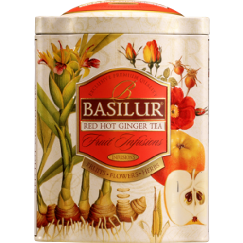 Savour the delightful, authentic Asian flavours with Basilur's Red Hot Ginger tea. A magnificent combination of Ginger, natural Apple, zesty orange peel and other natural ingredients which will provide the extra energy for your daily tasks. A natural energy booster to be taken hot or cold, perfect for any time of day. Ingredients : Natural apple and papaya, natural hibiscus, rosehip shell, ginger and orange peel and flavour ginger. Available in exquisitely crafted metal tins (100g per tins).