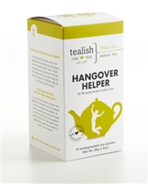 FOR THE PARTY ANIMAL INSIDE OF YOU!   Have one too many last night?  We know how that can be, and it hurts! Rejuvenate and re-hydrate your aching body with this soothing herbal blend. It might not erase your epic performance last night, but it might just help you get through the day in one piece. So remember, after too much boozing, start infusing! .   Part of  Love Yourself Wellness Tea Collection - great tasting, soul soothing and delightfully satisfying! .   Box contains 15 biodegradable, silken pyramid teabags.     BREWING INSTRUCTIONS: This tea is best steeped with boiling water. Use 1 teabag per mug, steep 4-6 min.   INGREDIENTS: Rooibos, cinnamon, ginger bits, cardamom, cloves, fennel, flavoring, aniseed.