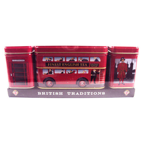 British Traditions Heritage Tins are miniature tins containing carefully selected traditional blends of fresh English teas, and are an ideal gift for friends and family.  A brilliant gift pack, each of the three tin is beautifully presented with images of the iconic red telephone box, red Double Decker bus and character tins.
