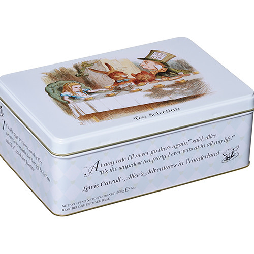New English Teas Alice in Wonderland Tin is packed with 100 high-quality teabags - the perfect gift for any occasion.  Containing English Breakfast, English Afternoon and Earl Grey Tea bags housed in an eye-catching tin that echoes English tradition and heritage.  The eye-catching tin features quotes from the iconic Alice's Adventures in Wonderland by Lewis Carroll for a truly quintessentially British gift.