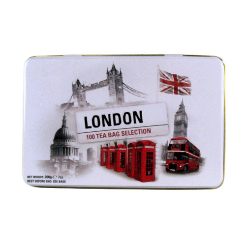 This attractive tin has an eye catching design that echoes London's famous heritage. Decorated in images of iconic London landmarks, such as St Paul's Cathedral, Houses of Parliament and Big Ben, this tin makes a beautiful gift for friends and family.  The 100 Teabag tin contains a selection in three different varieties: English Breakfast, English Afternoon and Earl Grey. Each blend has been carefully selected to ensure the finest aromas and delicious flavour.