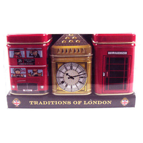 These absolutely delightful tins would make a welcome addition to any home.  In the collection, there's a double decker bus- copied in many countries but the original is quintessentially British.  The second tin is Big Ben and the third is a bright red telephone box, completing the trio very British tins, filled with very British tea.