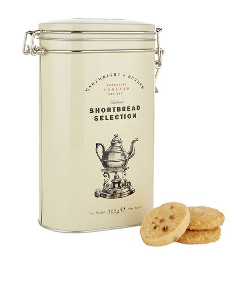 DETAILS Made in the United Kingdom May contain traces of other nuts and eggs Food & Wine: Biscuits & Cakes Cartwright And Butler Luxury Shortbread Duo (300g) Food & Wine: Biscuits & Cakes Cartwright And Butler Luxury Shortbread Duo (300g) OVERVIEW Add a traditional touch to your cup of tea time with Cartwright & Butler's shortbread duo with a twist. Presented in a traditional keepsake biscuit tin, one of the shortbread trays has been blended with decadent sea salt flakes and buttery caramel, while the other has flaked almonds through it. Perfect for sharing, the shortbread is made in England to an age-old recipe.  INGREDIENTS  Sea salt caramel shortbread: 150g): flour (wheat flour, calcium, iron, niacin, thiamine), salted butter (butterfat (milk), water, salt), sugar, demerara sugar, cornflour, crushed caramel (2%)(sugar, glucose syrup, whole milk powder, fresh cream (milk), butter (milk), salt, natural vanilla flavouring (milk), emulsifier: rapeseed lecithin), toffee flavouring, sea salt (0.1%). Almond shortbread, 150g: flour (wheat flour, calcium, iron, niacin, thiamine), salted butter (butterfat (milk), water, salt), sugar, flaked almonds (5%), demerara sugar, cornflour, ground almonds (1%), flavouring.