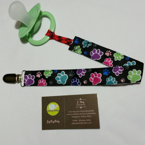 Colorful Paw Prints Adult Pacifier Clip